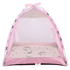 Loghot Removable Pet Bed Tent for Small Dogs Cats Flodable Cute Pet House Tent Summer Breathable Mesh Tent