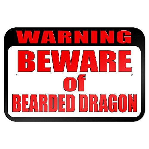 "Warning Beware Of Bearded Dragon 9"" X 6"" Metal Sign"