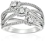10k White Gold Diamond Interweaved Anniversary Ring (1/2cttw, I-J Color, I2-I3 Clarity), Size 7