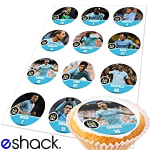 12 x Manchester City Team Edible Cake Toppers (Man City Birthday ...