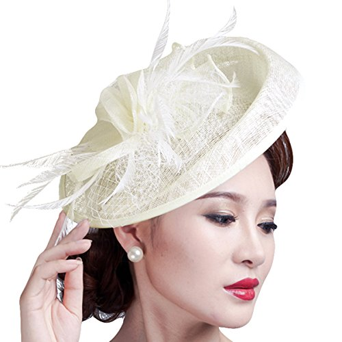 [Party Fascinator Hair Clip Pillbox Hat Cocktail Kentucky Derby Hat for Ladies] (White Top Hat Fascinator)