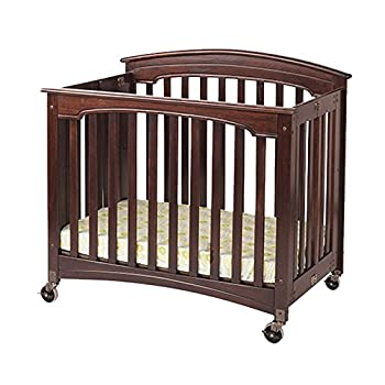 "Foundations Compact Royale EasyRoll Folding Fixed-Side Crib Slatted with 4"" Casters Antique Cherry - 1 Pack"