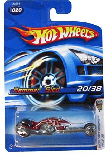 2006 First Editions -#20 Hammer Sled Red 06 Card #2006-20 Collectible Collector Car Mattel Hot Wheels - 1