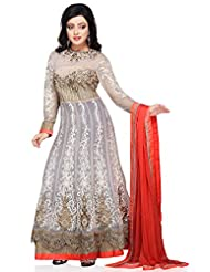 Utsav Fashion Women's Off White Net Readymade Double Layered Abaya Style Churidar Kameez-Medium