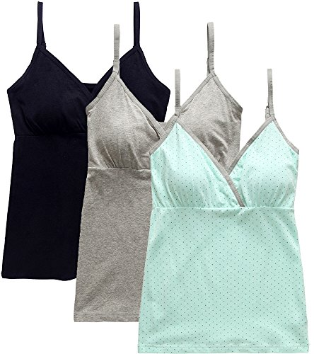 Nursing Tank Tops, Maternity Nursing Bras Camisole Pajamas For Breastfeeding (Large: Fits for Weight 150-170 lb, Black+Grey+Light Green Dot (3Pcs))