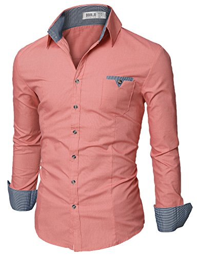 Doublju mens slim fit cotton flannel tailored shirt pink for Mens slim fit flannel shirt