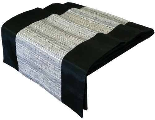 Artiwa Black Silk Decorative Table Runner / Bed Runner With Grey Middle Stripe 14X64 Inch