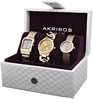 Akribos XXIV Women's AK688YG Diamond Accented Gold-Tone 3 Watch Box Set from Akribos XXIV