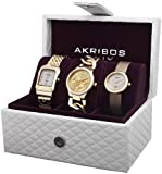 Akribos XXIV Womens AK688YG Diamond Accented Gold-Tone 3 Watch Box Set