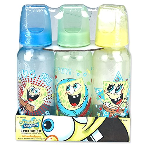 "SpongeBob Squarepants ""Hug Me"" 3-Pack Bottles (9 oz.) - Blue, Green, Yellow, one size"