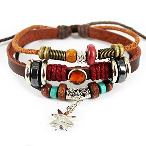 [Bluegrass Charm Silvery Flower Pendant Brown Braided Rope Leather Bracelet] (Indian Beaded Bracelet)