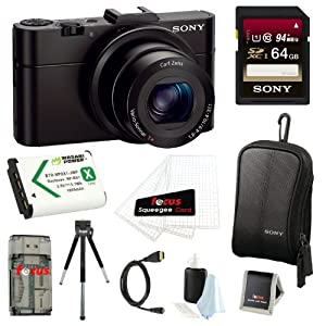 Sony Cyber-shot DSC-RX100M2/B RX100M II RX100MII 20.2MP Wi-Fi Digital Camera with F1.8 Carl Zeiss Vario-Sonnar T Lens and Full HD 1080p Video at 60fps + Sony 64GB SDHC Class 10 Memory Card + Wasabi NP-BX1 Battery Pack + Sony Camera Case + Micro HDMI Cable + Focus Multi Memory Card Wallet