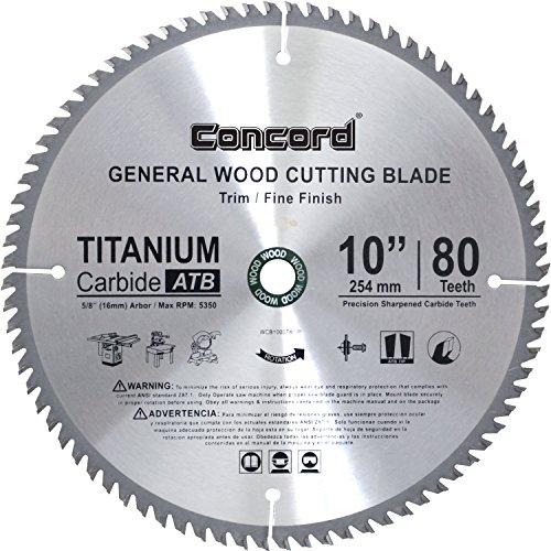 Concord Blades 10-Inch 80 Teeth Hard & Soft Wood Saw Blade