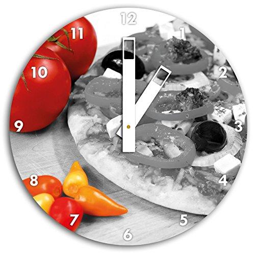 pizza savoureuse avec des olives et du fromage blanc blanc / noir, diamètre d'horloge 30cm avec du blanc au carré les mains et le visage, objets décoratifs, Designuhr, aluminium composite très agréable pour le salon, étude