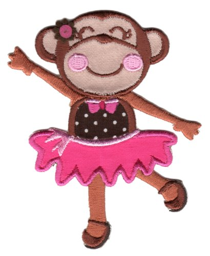Patchmommy Iron On Applique Patch, Animals - Ballerina Monkey - Kids Baby front-86815