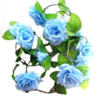 Eyourlife Artificial Rose Silk Flower Vine Garland Home Wall Party Wedding Decor by Eyourlife