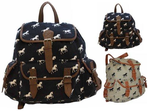 Ladies Large Tapestry Horse Canvas Backpack Rucksack Handbag Work School Beach Bag Beige Navy Blue with Brown Trim