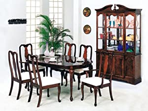 Queen Ann Dining Table with Leaf and 2 High Back Arm Chair and 4 High Back Side Chair in Dark Cherry Finish ADS1002,2003,2004