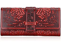 Pijushi Women\'s Genuine Leather Purse Ladies Wallet Long Purse Organizer Zippered Clutch Handbag 9902 (9902 Red Flower)