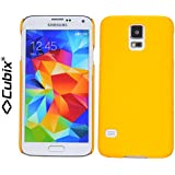 Cubix Hard Case Back Cover For Samsung Galaxy S5 Slim Fit Thin Fit Super Slim Hard Rubber Coated Soft Touch Yellow