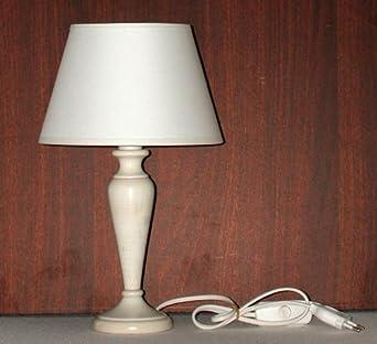 Lampada da tavolo comodino in legno laccato bianco anticato altezza totale cm 34 paralume - Amazon lampade da tavolo ...