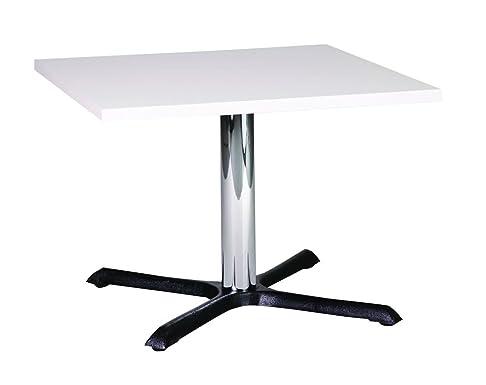 Roza quadrata ghisa tavolino con colonna in ghisa, Legno metallo, White, 70 cm