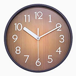 JustNile Retro Country-Style Round Silent Wall Clock - 10-inch Coffee Brown