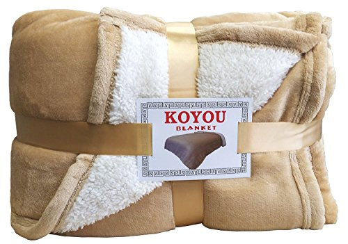 KOYOU Super Soft Light Brown Plush Sherpa Borrego Blanket Throw Queen or Full Size Bed (Full Size Bed Quilt compare prices)