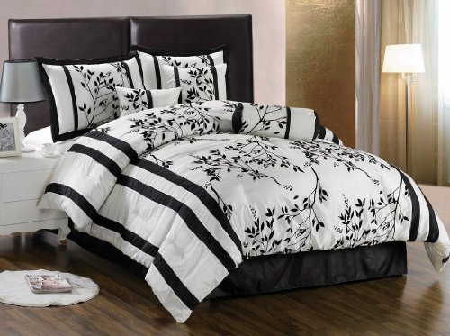 Queen Size Bedding-7 Pieces Beige and Black Asian Bamboo Floral Comforter Set Bed-in-a-bag