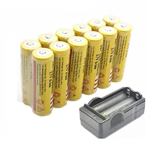 mini-butterball-12pcs-18650-5000mah-37v-li-ion-rechargeable-yellow-batteries-with-wireless-dual-char