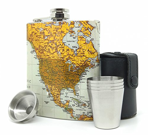 Premium Hip Flask Gift Set for Men & Women - Vintage World Map Style Stainless Steel 7 oz Liquor Flask with Funnel, Cups and Carrier (Gentleman Jack Whisky compare prices)