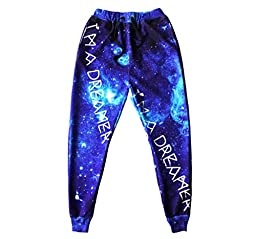 Uhomedecor Men\'s Emoji Joggers Sweatshirts Galaxy Blue Sportswear Gym Sport,Blue
