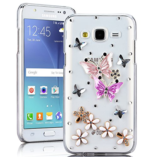 SMARTLEGEND Rigida Custodia per Samsung Galaxy J5(2015), Bling Glitter Diamante PC Hard Case Cover Bumper, Ultra Sottile Trasparente Duro Durevole Protettiva Caso con Disegno Elegante - Farfalla Colorata e Fiore Bianco