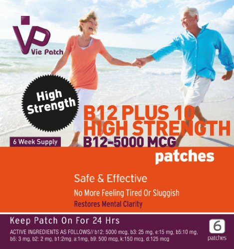 Vie Patch - Vitamin B12 High Strength 5000 Mcg - 6 Patches. No More Feeling Tired Or Sluggish. Methylcobalamin. 6 Week Supply