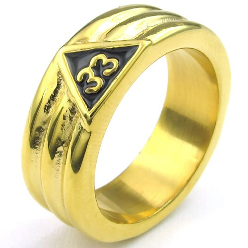 Konov Jewelry Mens Stainless Steel Ring, Vintage Freemason Masonic, Gold Black, Size 9