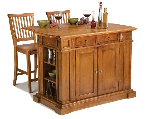Cheap 3pc Kitchen Island and Stools Set in Oak Finish (VF_HY-5004-948)