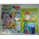 SpongeBob Schwammkopf Adventskalender + 1 x Weihnachtsmalbuch + 1 Päckchen Filzstifte im super SparSet