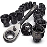 "Craftsman 19 piece Universal Passthrough Metric & SAE 3/8""-dr Socket and Ratchet Set with Storage Rack 9-31088"