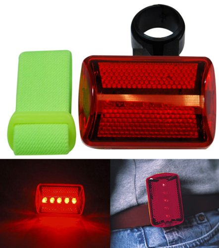 Red Flashing 5 LED Bike, Runners, Joggers 7 Function Safety Light w/Arm Band & Bike Mount