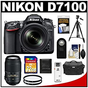 Nikon D7100 Digital SLR Camera & 18-105mm VR DX AF-S Zoom Lens (Black) with 55-300mm VR Lens + 32GB Card + Case + Filter + Remote + Tripod + Accessory Kit
