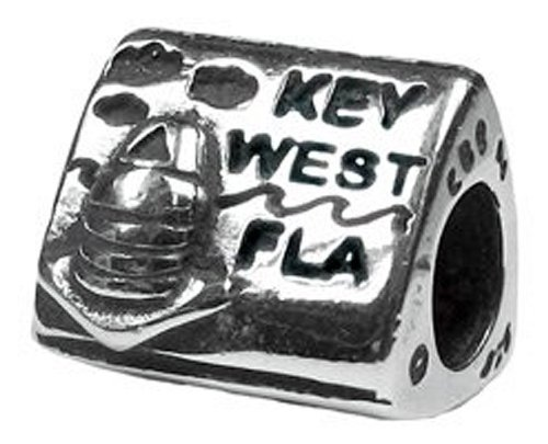 CleverEve Designer Series Zable Travel Themed Sterling Silver Key West Florida Southernmost Marker Charm Bead