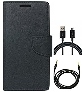 D'Clair Premium combo of Merucry Flip cover, USB Charging and Aux Cable for S...