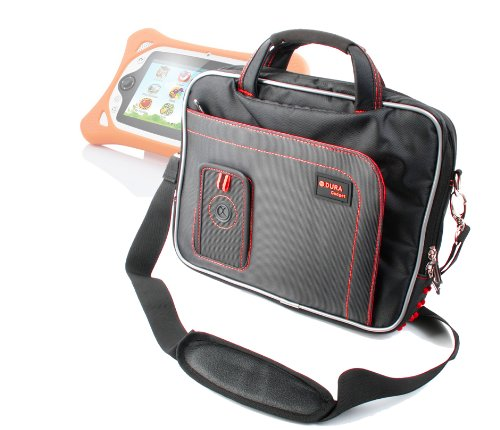 Duragadget Exclusive Black&Red Tablet Compartment Case With Shoulder Strap Suitable For Binatone Appstar By Binatone 7 Inch Tablet, Touch Screen Pad Childrens Learning Tablet Computer Laptop For Toddler Child Kids Toy Blue & Playtech Logic My First Ipad ( front-982388