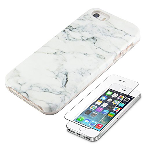 White Marble iPhone SE 5S 5 Protective Case Ucolor Dual-layer Hard PC + Soft TPU Tough Case for iPhone SE 5S 5 with Slim Tempered Glass Screen Protector (Protective Iphone 5s Glass compare prices)