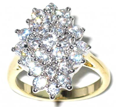 2.45ct CLUSTER WITH BRILLIANT CLEAR SIMULATED DIAMONDS. OUTSTANDING QUALITY.