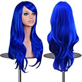 Emax Design Wigs 28 Inch Cosplay Wig For Women With Wig Cap And Comb(Dark Blue)
