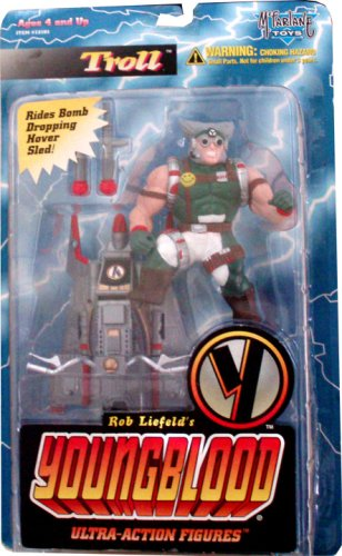 McFarlane Toys Year 1995 Rob Liefeld's Youngblood 4 Inch Tall Ultra Action Figure - TROLL with Bomb Dropping Hover Sled