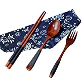 シンプルファン 木製 箸 スプーン セット お弁当 カレースプーン フォーク セット 滑り止めデザイン 箸袋を付け 4点セット