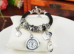 Fashion Women Ladies Heart Alloy Weave Rope Elegant Bracelet Quartz Jewelry Watch Black