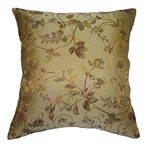 Burgundy Green Throw Pillows : Amazon.com: Beige, Burgundy, Gold, and Green Floral Brocade Decorative Throw Pillow Cover (10 ...